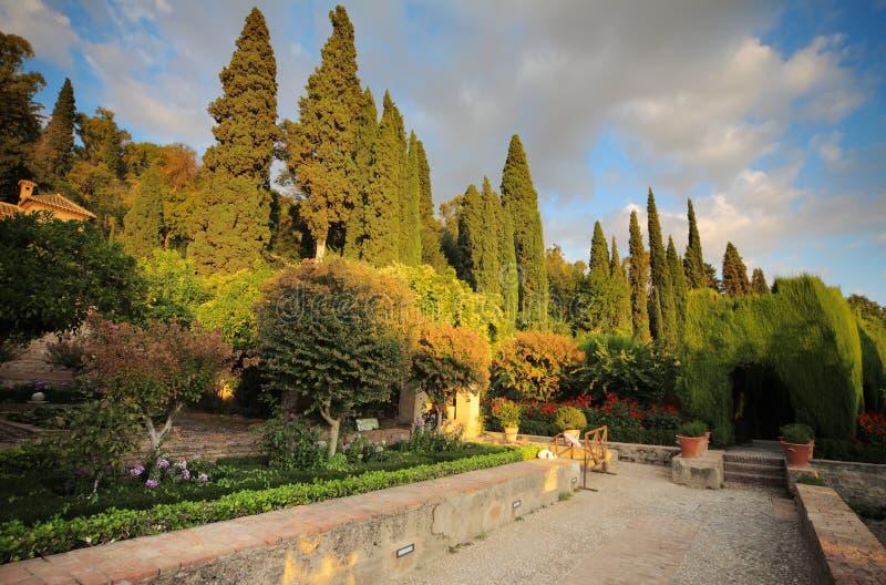 Alhambra tuin, Granada, Spanje royalty-vrije stock foto's