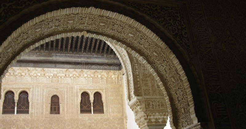 alhambra välva sig staden granada spain arkivfoto