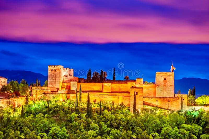 Alhambra van Granada, Andalusia, Spanje royalty-vrije stock foto's