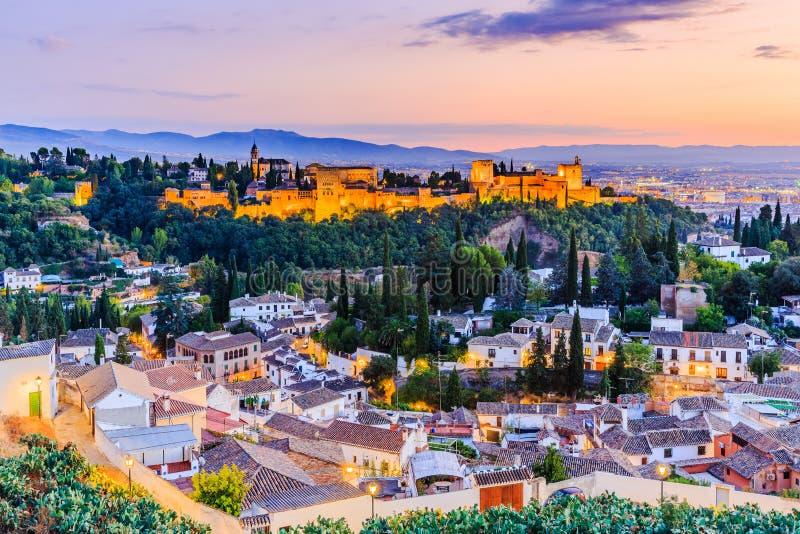 Alhambra van Granada, Spanje stock afbeeldingen