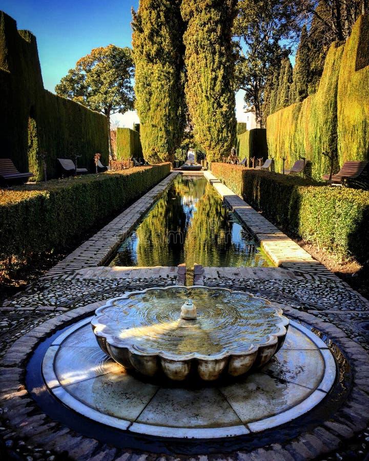 Alhambra vatten, stilsort, liv, arkivfoton