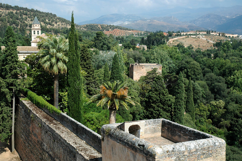 Alhambra viewpoint Granada. A view from the Alhambra in Granada royalty free stock photos