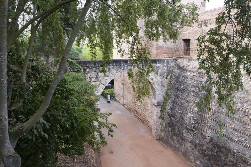Alhambra Wejście Cuesta De Los Chino obraz stock