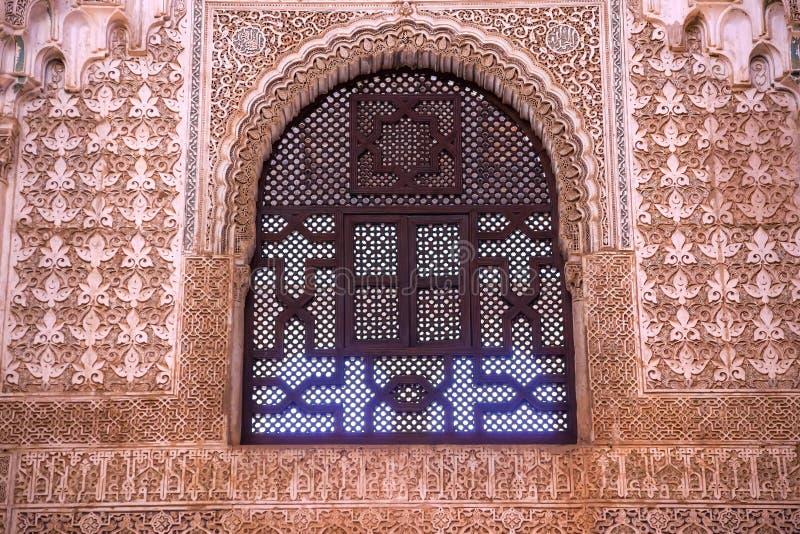 Alhambra Window Moorish Wall Designs Granada Andalusia Spanien royaltyfri bild