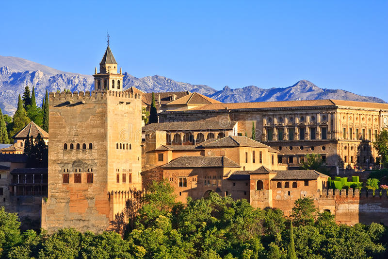 alhambra zmierzchu widok fotografia stock
