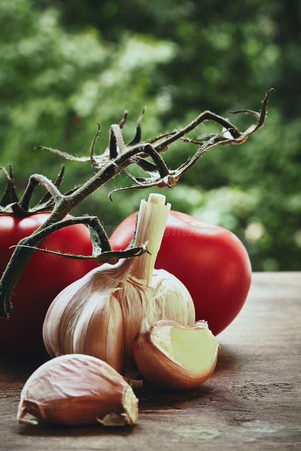 Alho e tomates fotos de stock royalty free