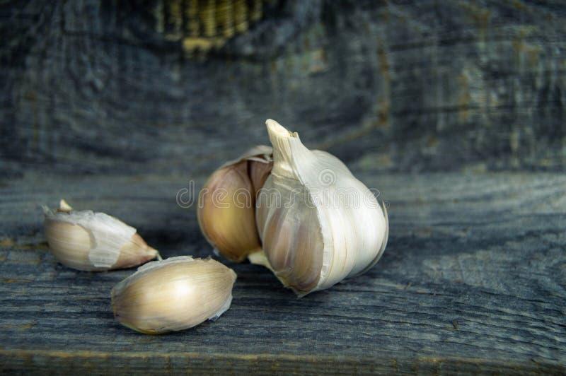 Alho fresco e alguns cravos-da-índia do close-up do alho no backgr de madeira fotografia de stock