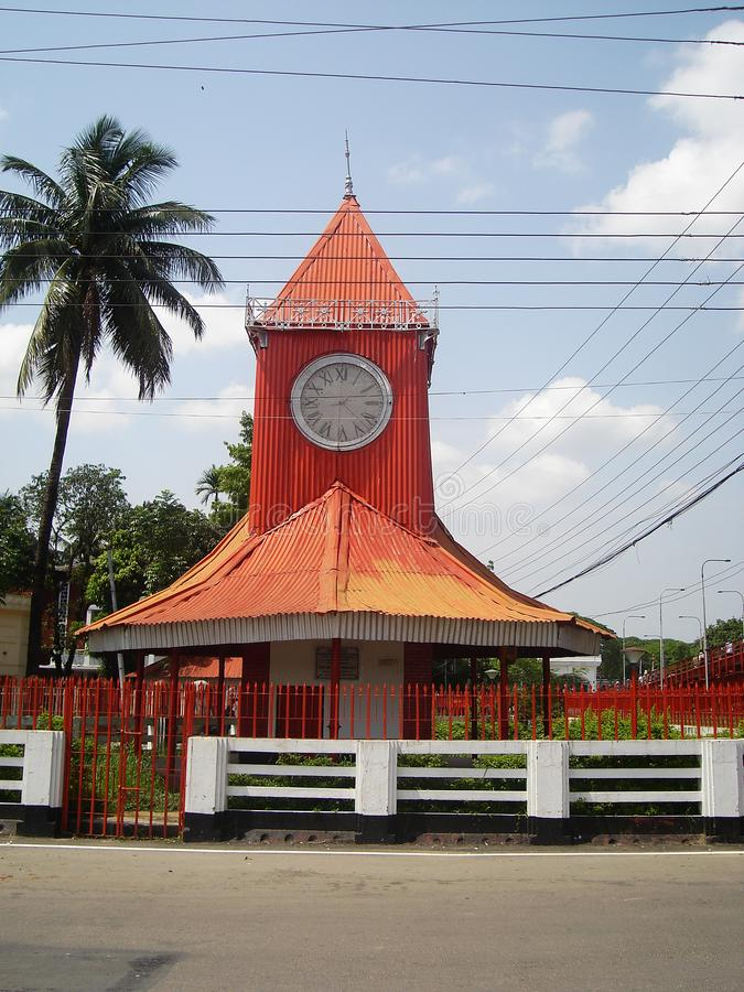 Ali Amjad Watch, Sylhet, Bangladesh 2007. Ali Amjad`s Clock is the oldest clock tower located on the bank of Surma River in Sylhet, Bangladesh. It is known as ` royalty free stock photo