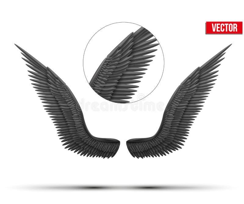 Ali aperte di angelo del nero Vettore illustrazione di stock
