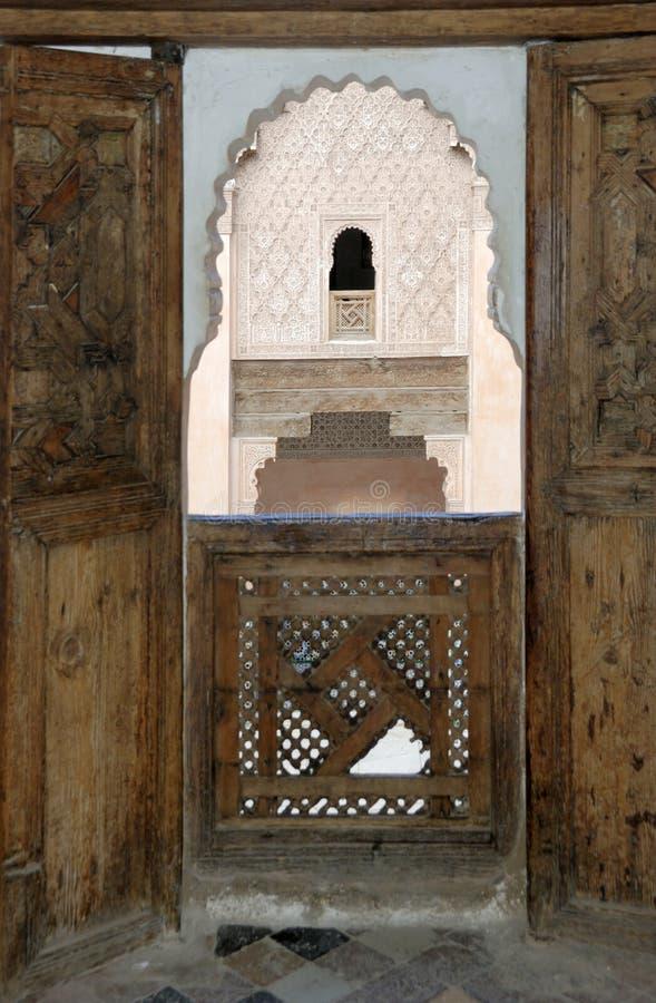 ali ben madrassa marrakech morocco youssef royaltyfria bilder