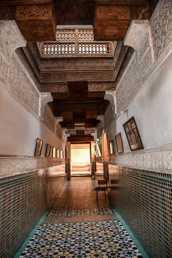 Ali Ben Youssef Madrasa, C4marraquexe, Marrocos fotografia de stock