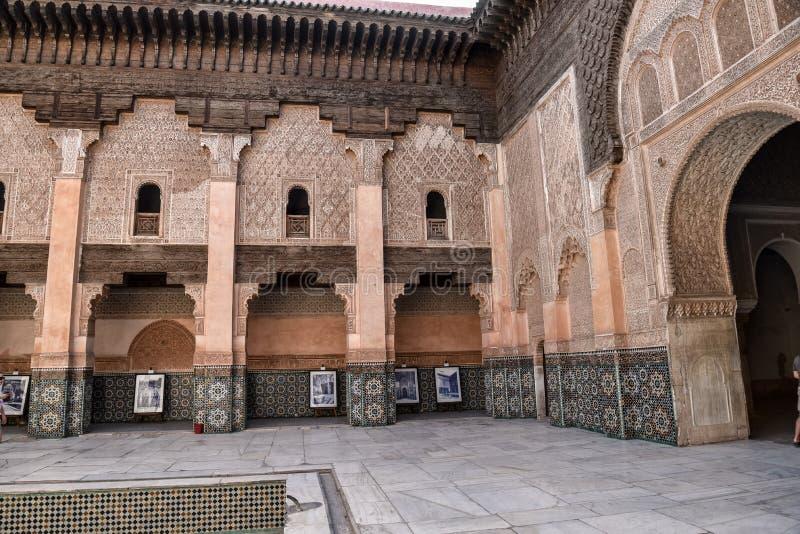 Ali Ben Youssef Madrasa, C4marraquexe, Marrocos fotografia de stock royalty free