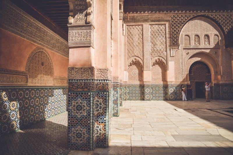 Ali Ben Youssef Madrasa, C4marraquexe, Marrocos imagens de stock royalty free
