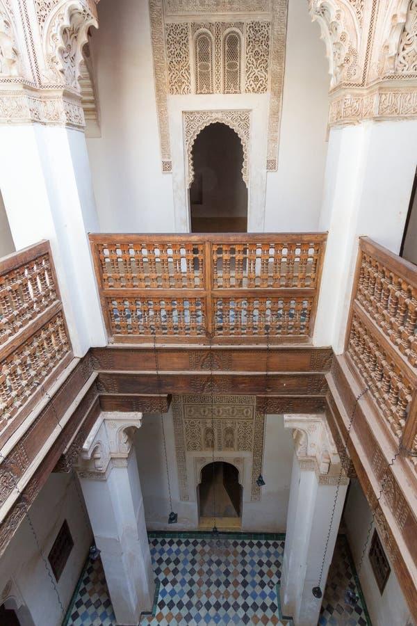 Ali Ben Youssef Madrassa in Marrakesch stockbild