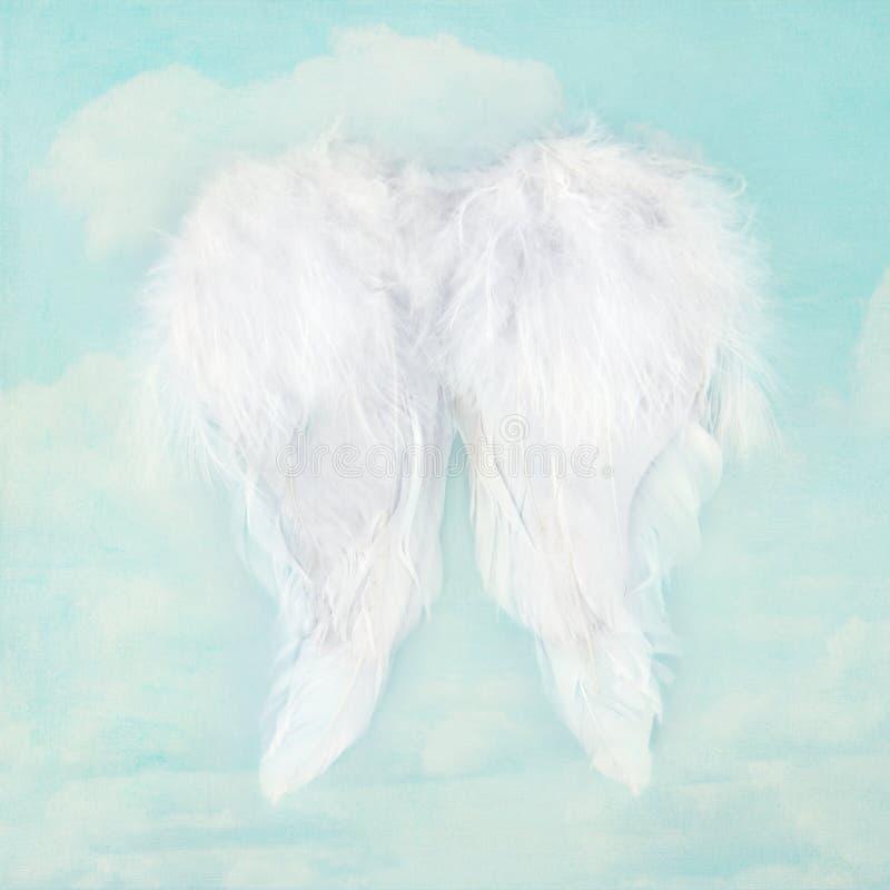 Ali bianche di angelo sul fondo strutturato del cielo immagine stock libera da diritti