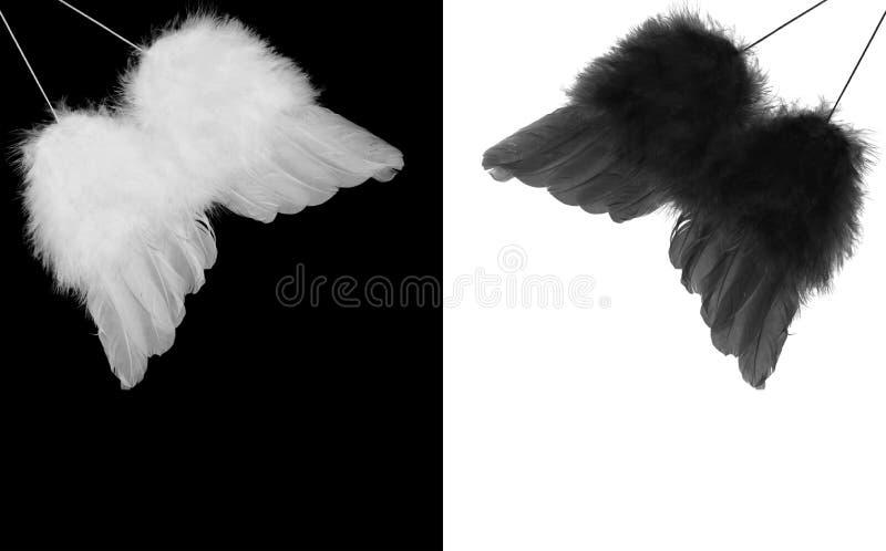 Ali in bianco e nero di angelo immagine stock libera da diritti