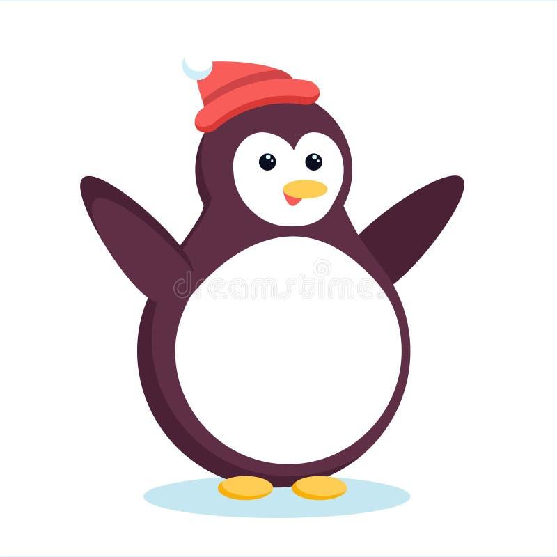 Ali d'ondeggiamento e sorridere del pinguino artico di Natale Fumetto sveglio illustrazione di stock