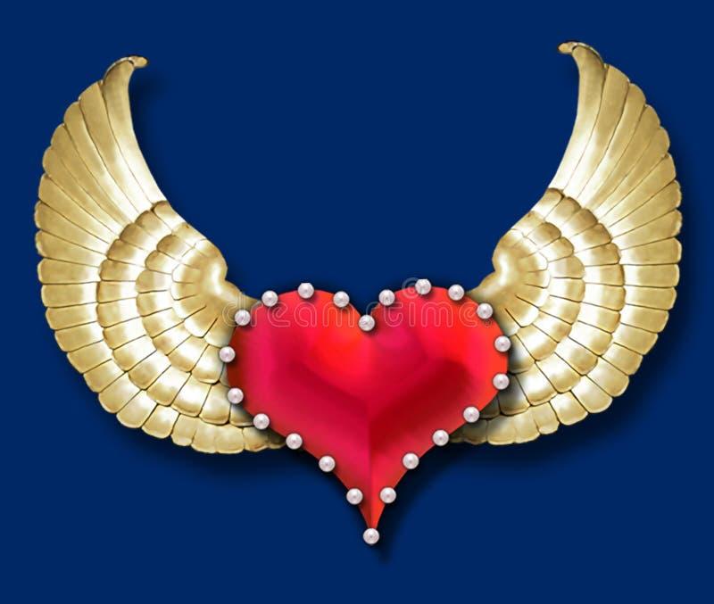 Ali del cuore w/golden illustrazione di stock