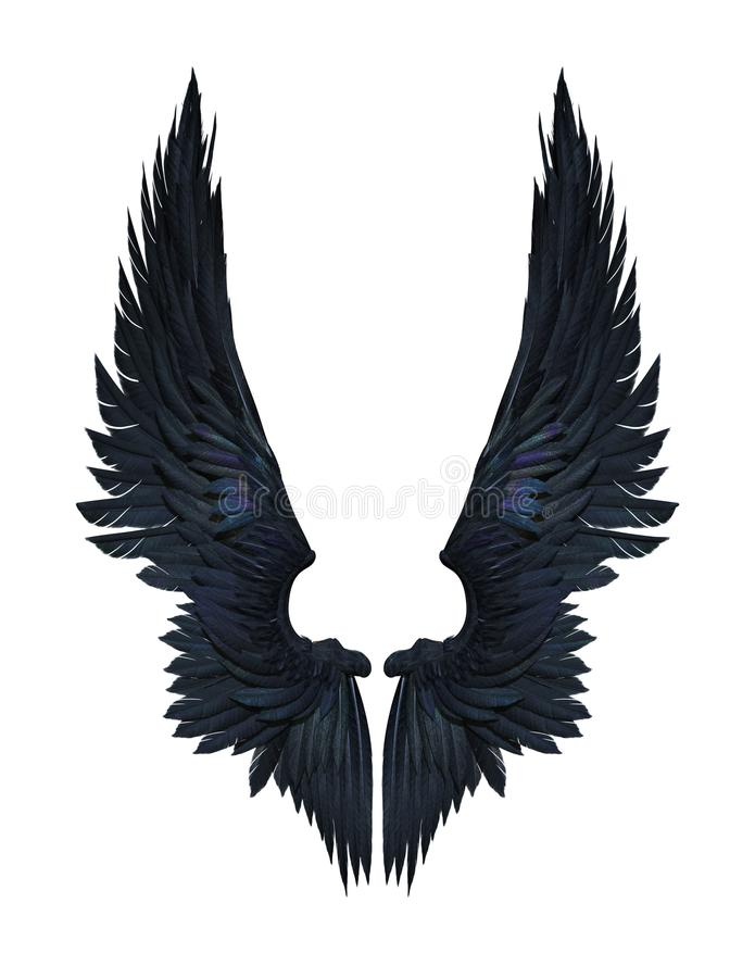 Ali del demone, Wing Plumage Isolated nero su bianco royalty illustrazione gratis