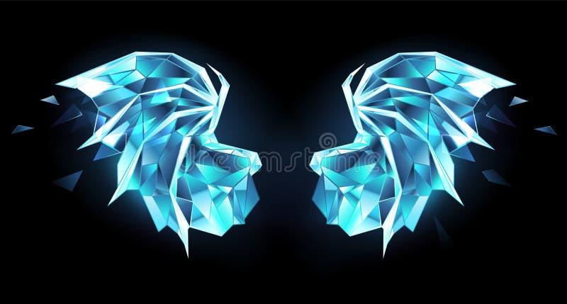 Ali del drago del ghiaccio su fondo nero royalty illustrazione gratis