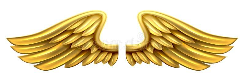 Ali dell'oro del metallo illustrazione di stock