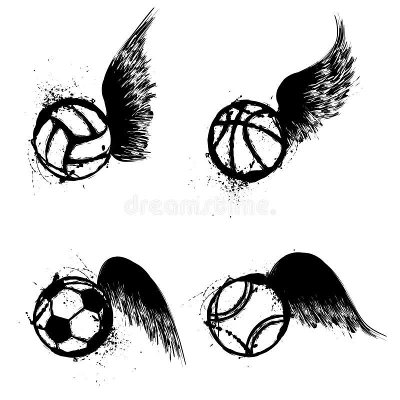 Ali delle palle di lerciume di sport illustrazione di stock
