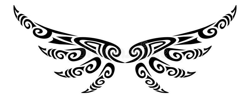 Ali di angelo che pilotano progettazione maori stilizzata tribale di koru del tatuaggio royalty illustrazione gratis