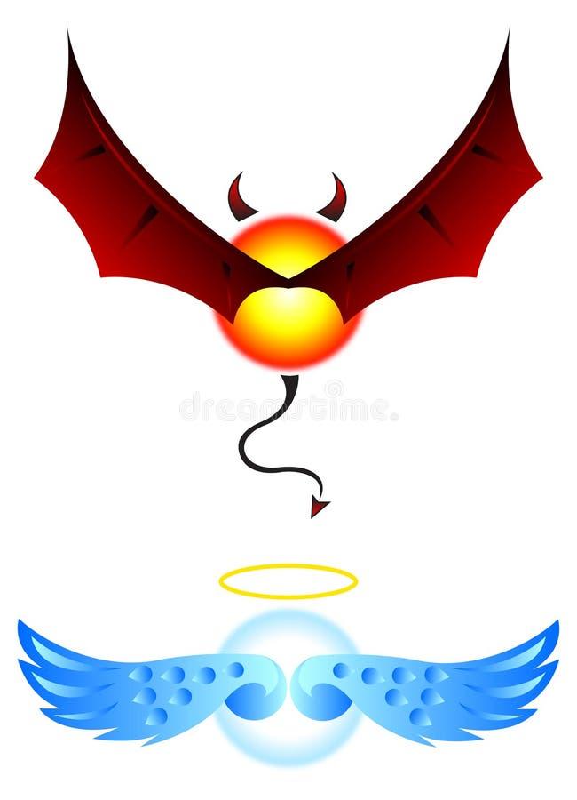 Ali di angelo e del diavolo illustrazione di stock