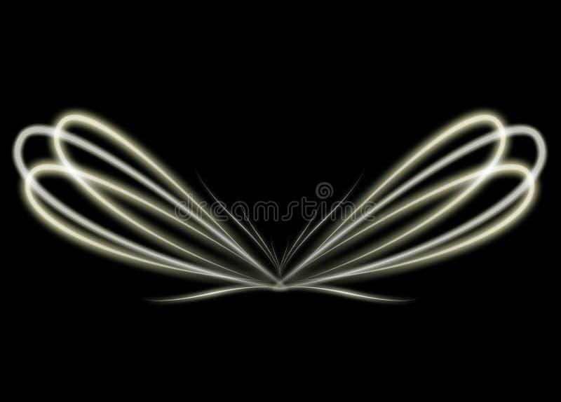 Ali di indicatore luminoso giallo d'ardore illustrazione di stock