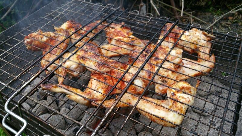 Ali di pollo arrostite immagine stock