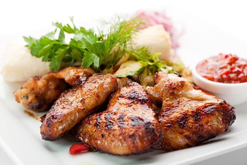 Ali di pollo del BBQ fotografia stock libera da diritti