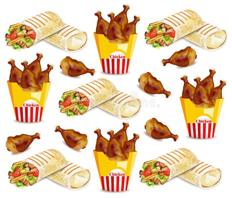 Ali di pollo e modello di vettore di shawarma Ambiti di provenienza degli alimenti a rapida preparazione royalty illustrazione gratis