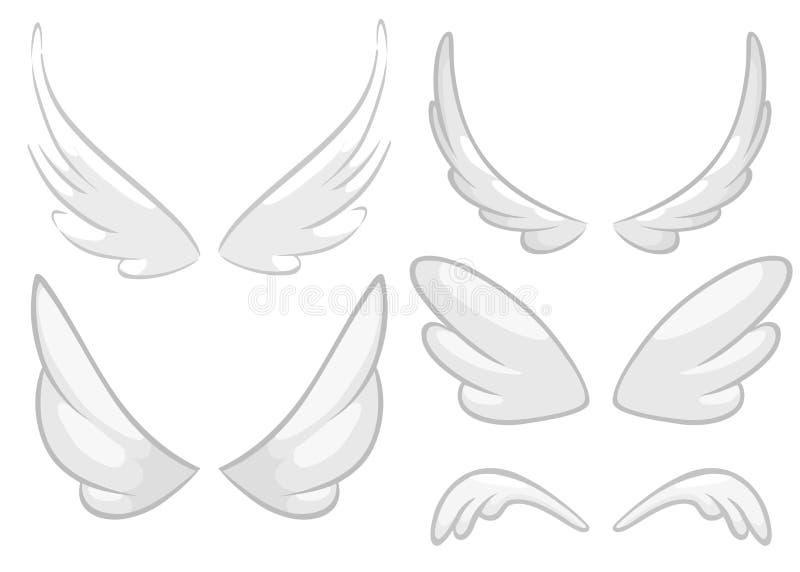 Ali disegnate a mano di angelo, del fatato o dell'uccello messe Elementi di disegno descritti isolati su fondo bianco Illustrazio royalty illustrazione gratis