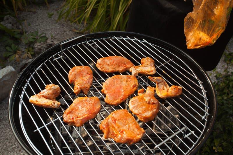 Ali e bistecche di pollo piccanti sulla griglia immagine stock