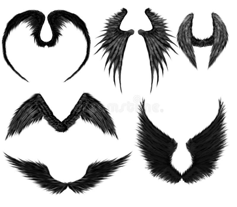 Ali nere di angeli illustrazione vettoriale