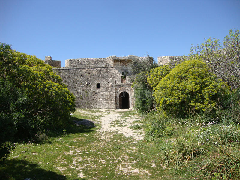 Ali Pasha Fort Main Entrance, Himara, Palermo, South Albania Royalty Free Stock Photo