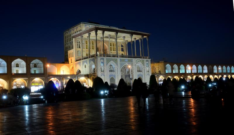 The Ali Qapu Palace by night, Isfahan, Iran stock image