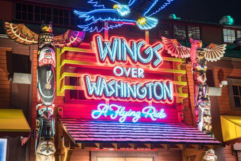 Ali sopra Washington un giro di volo fotografia stock