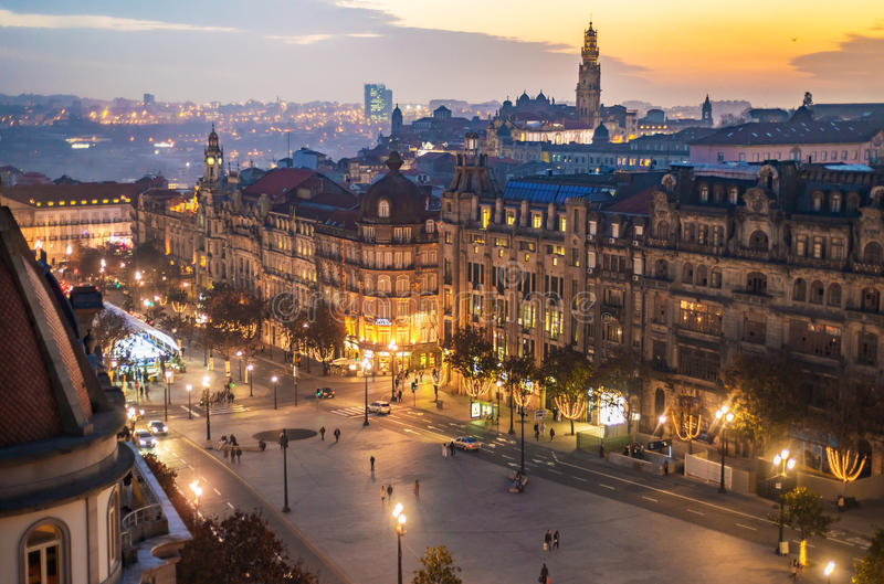 Aerial view of Aliados / Liberdade Square and Clerigos Tower town of Porto. Sunset view with winter Christmas tree, Lisbon. Portugal royalty free stock image