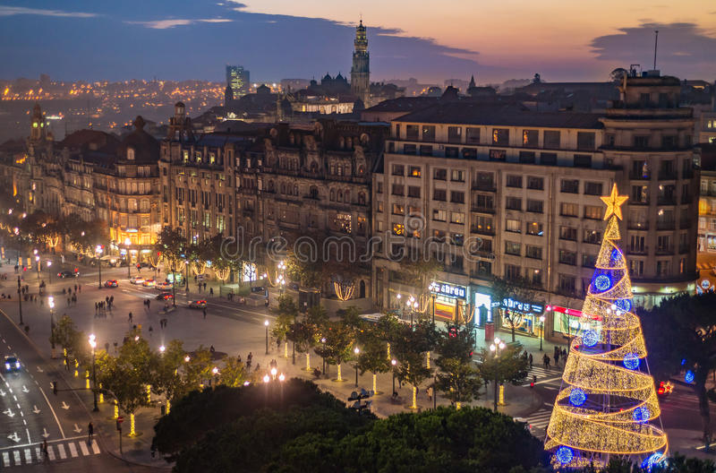 Download Aerial View Of Aliados / Liberdade Square And Clerigos Tower Town Of Porto. Sunset View With Winter Christmas Tree, Lisbon Editorial Image - Image of house, 2017: 69311920