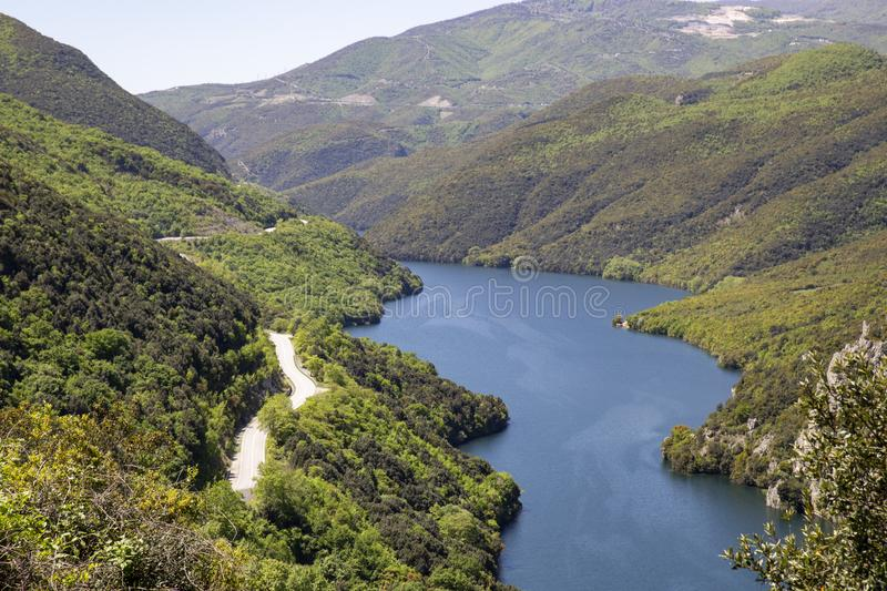 The Aliakmonas River in the region of Northern Greece. Idyllic, outdoor, nobody stock images