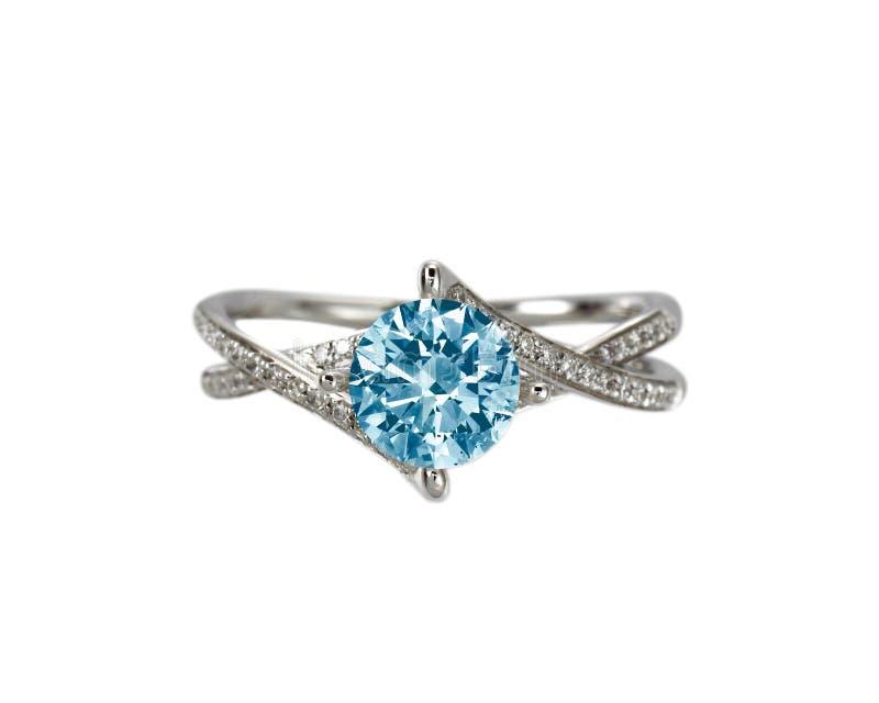 Aliança de casamento azul do acoplamento do diamante imagem de stock royalty free