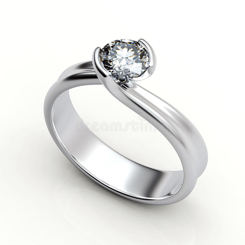 Aliança de casamento com o diamante no fundo branco. Sinal do amor ilustração royalty free