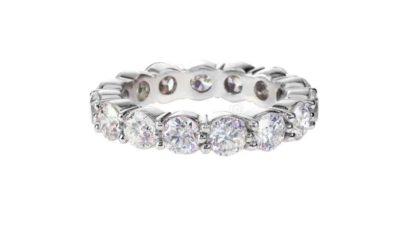 Aliança de casamento da eternidade do aniversário do diamante imagem de stock royalty free