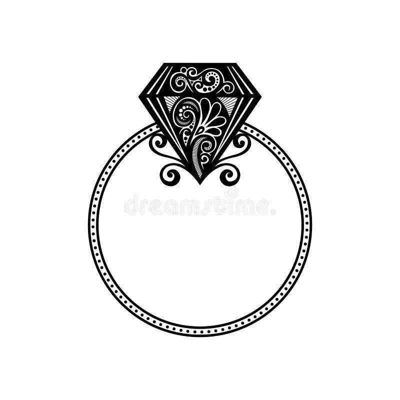 Aliança de casamento do vetor com diamante. ilustração do vetor