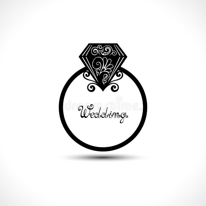 Aliança de casamento do vetor com diamante ilustração do vetor