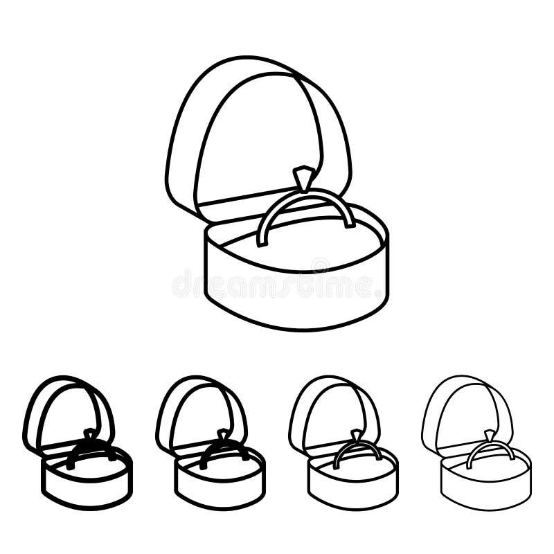aliança de casamento em um ícone da caixa no estilo diferente da espessura Um do ícone da coleção do Valentim pode ser usado para ilustração royalty free