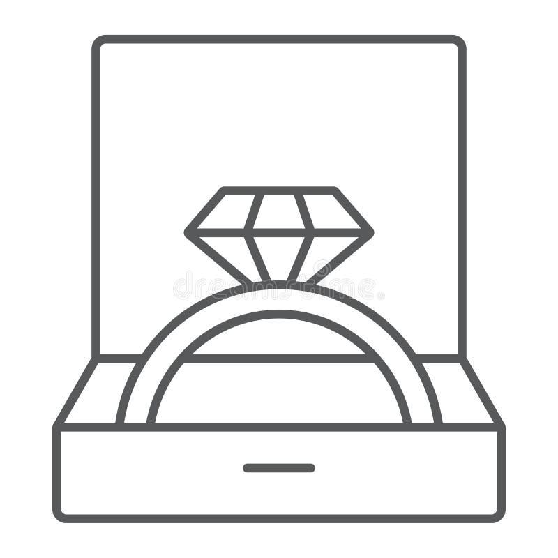 Aliança de casamento na linha fina ícone da caixa, joia e acessório, caixa de presente com sinal do anel, gráficos de vetor, um t ilustração do vetor