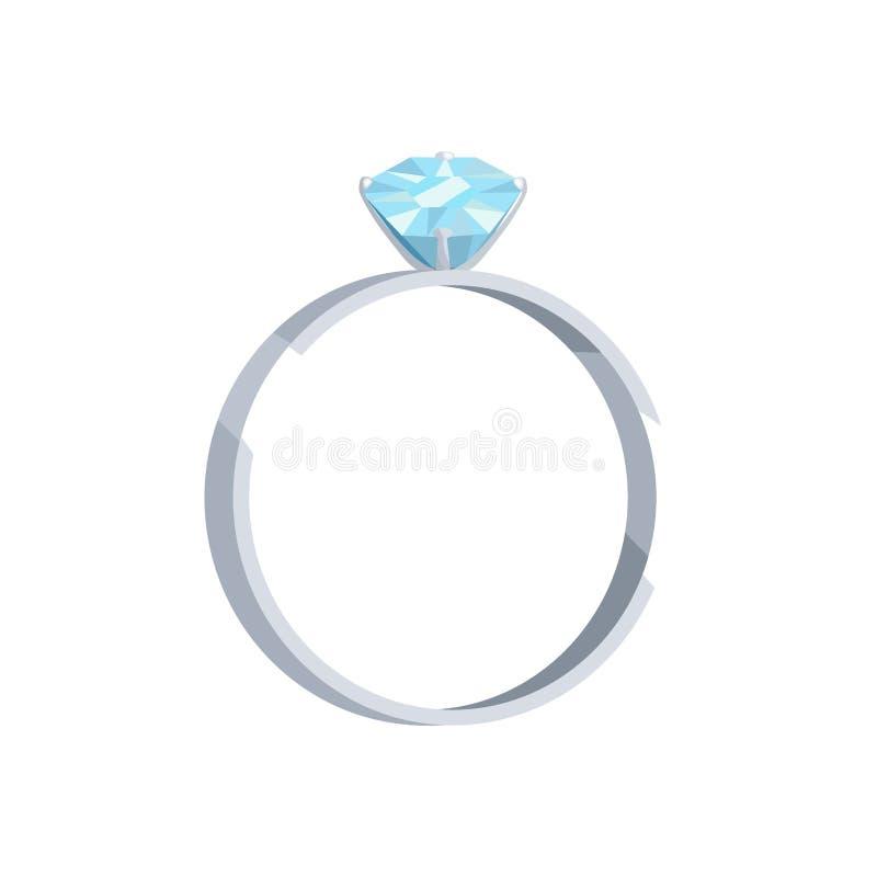 Aliança de casamento de prata com ícone azul do vetor do diamante ilustração stock