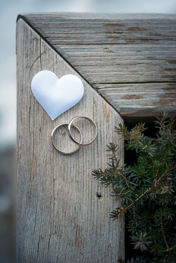 Alianças de casamento com coração em um quadro foto de stock royalty free